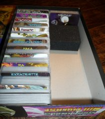 The box is a storage system for the main game and two expansions; unfortunately, this doesn't work with sleeved cards