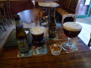 Enjoying various British and Belgian beers