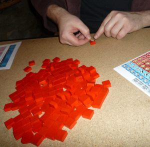 Before you can start playing the game, you have to apply the stickers to the blocks
