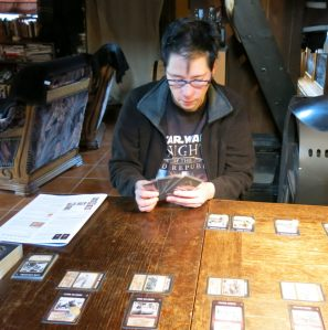 Choosing the cards for the German set-up. The Russian occupied four locations during his set-up