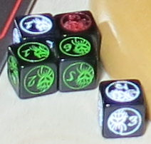 3 types of special dice are used to resolve combat