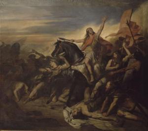 The Battle of Tolbiac in a 19th century painting by Ary Scheffer